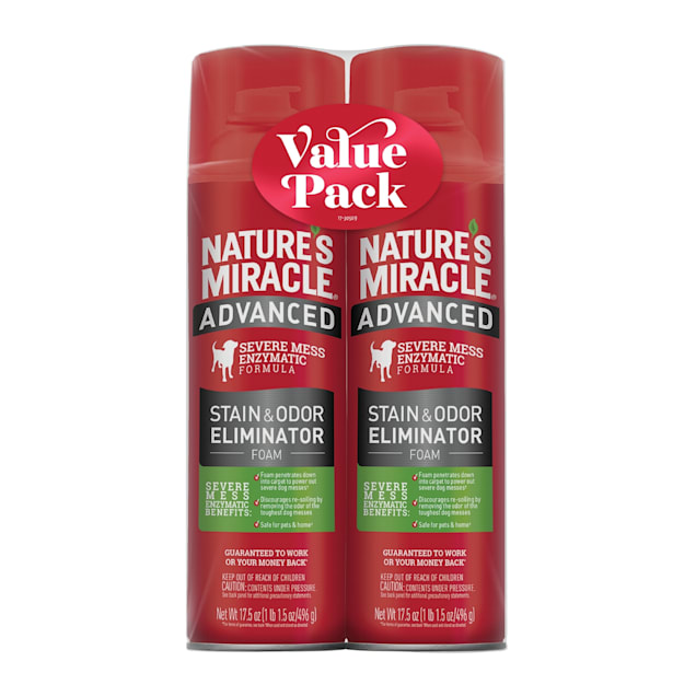 Nature's Miracle Advanced Stain & Odor Eliminator Foam for Dogs, 17.5 fl. oz., Twin Pack - Carousel image #1