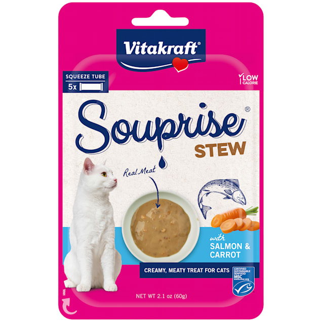 Vitakraft Souprise Stew Snack with Salmon and Carrots Treats for Cats, 2.1 oz., Count of 5 - Carousel image #1