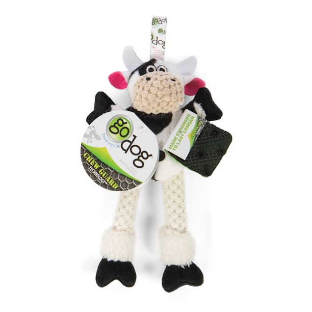 goDog Checkers Skinny Cow Plush Dog Toy, X-Small - Carousel image #1