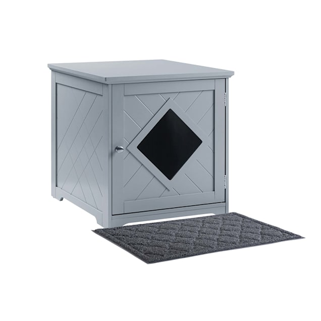 """UniPaws Gray Wooden Cat Litter Box Cover with Mat, 19"""" L X 21"""" W X 20"""" H - Carousel image #1"""