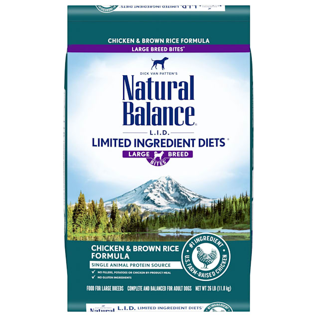 Natural Balance L.I.D. Limited Ingredient Diets Chicken & Brown Rice Formula Large Breed Bites Dry Dog Food, 26 lbs. - Carousel image #1