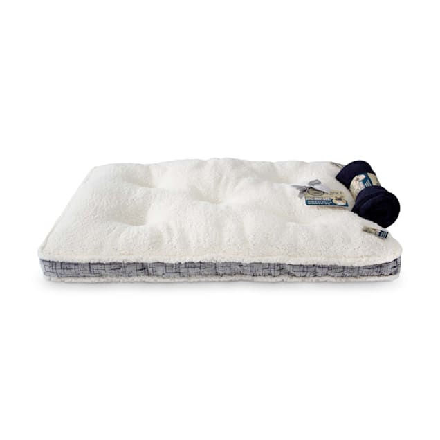 "Dogs Rocks 2PC Gray Tufted Pet Bed with Blanket, 36"" L X 23"" W X 2"" H - Carousel image #1"
