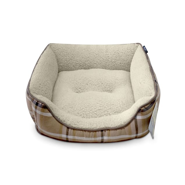 "Dogs Rock Tan Plaid Cuddle Pet Bed, 24"" L X 18"" W X 6"" H - Carousel image #1"