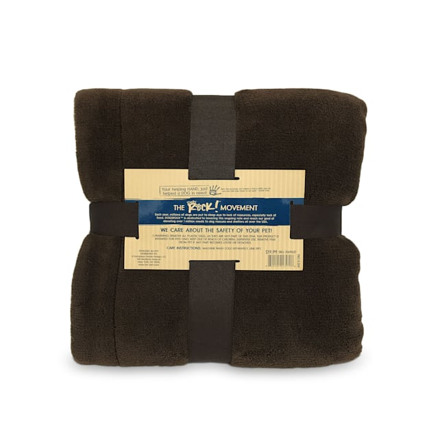 "Dogs Rock Brown Sherpa Pet Throw Blanket, 40"" L X 30"" W X 0.1"" H - Carousel image #1"