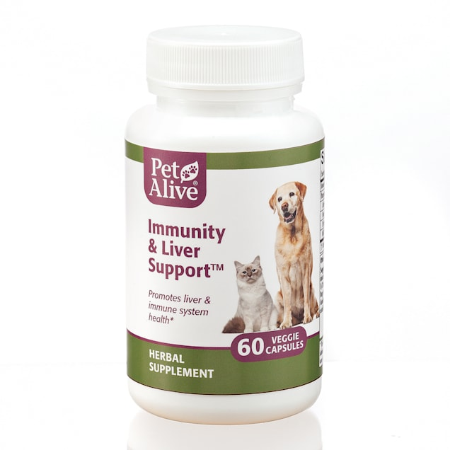 PetAlive Immunity and Liver Support Veggie Capsules Herbal Supplement for Dogs, Count of 60 - Carousel image #1