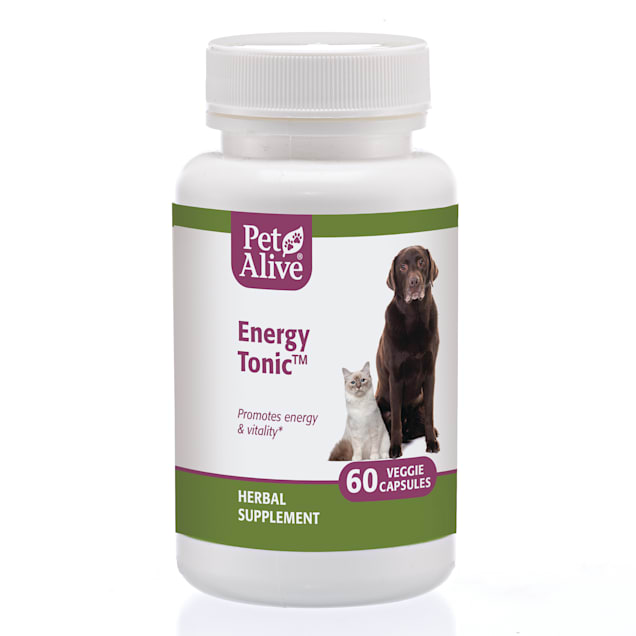 PetAlive Energy Tonic Veggie Capsules Natural Herbal Supplement Promotes Energy & Vitality for Pets, Count of 60 - Carousel image #1