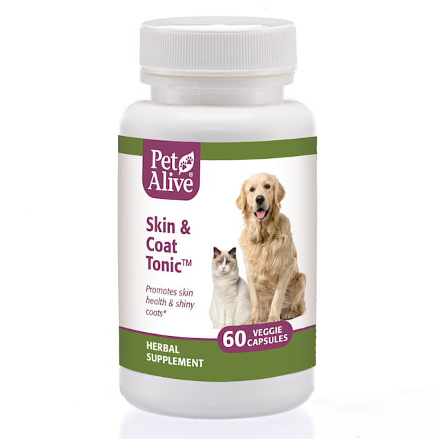 PetAlive Skin & Coat Tonic Veggie Capsules Natural Herbal Supplement for Shiny & Glossy Fur for Pets, Count of 60 - Carousel image #1