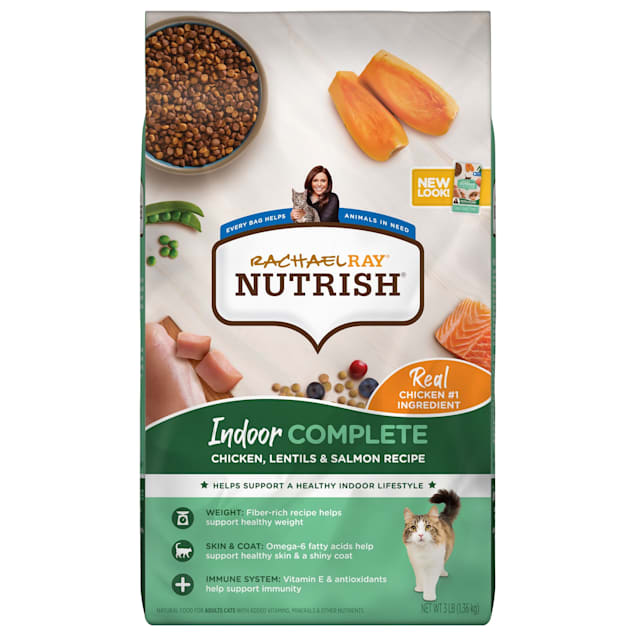 Rachael Ray Nutrish Indoor Complete Natural Chicken with Lentils & Salmon Recipe Dry Cat Food, 3 lbs. - Carousel image #1