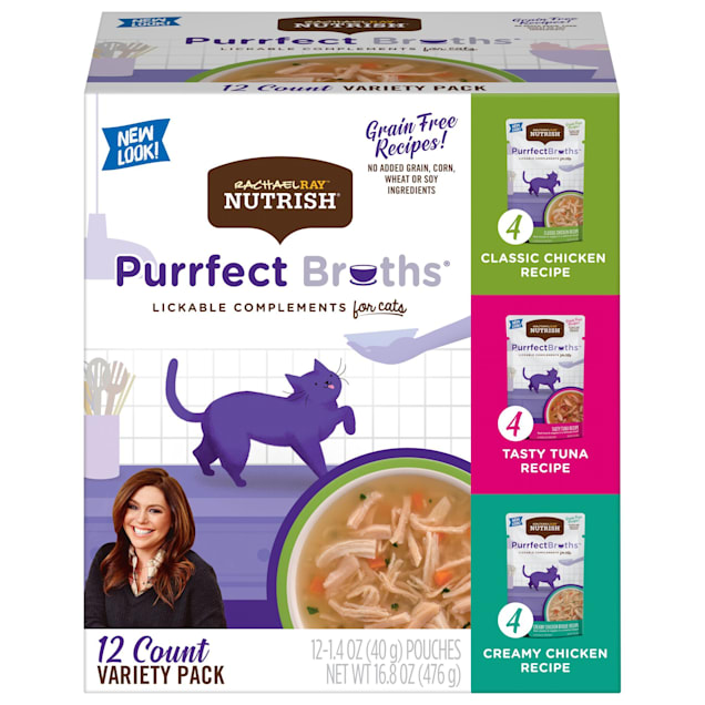 Rachael Ray Nutrish Grain Free Chicken and Tuna Recipe Variety Pack Wet Cat Food, 1.4 oz., Count of 12 - Carousel image #1