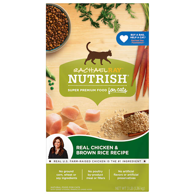 Rachael Ray Nutrish Natural Chicken & Brown Rice Recipe Dry Cat Food, 3 lbs. - Carousel image #1