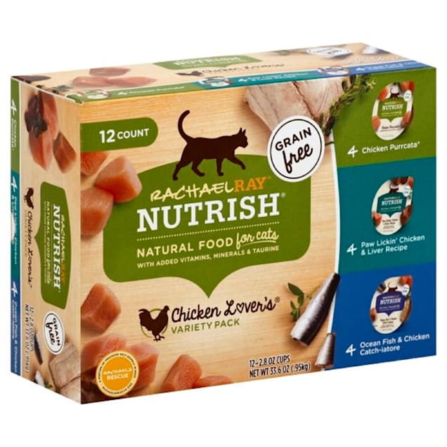 Rachael Ray Nutrish Grain Free Chicken Lovers Variety Pack Wet Cat Food, 2.8 oz., Count of 12 - Carousel image #1
