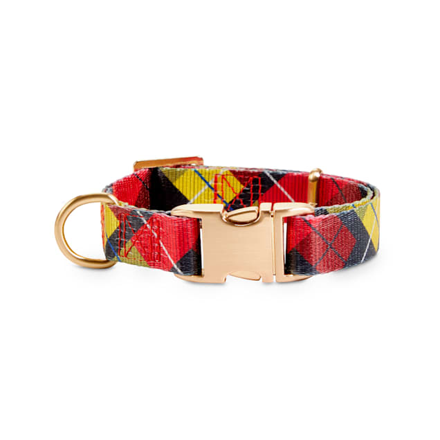 Bond & Co. Red & Gold Plaid Dog Collar, Small - Carousel image #1