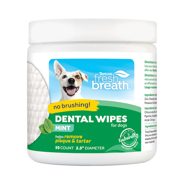 TropiClean Fresh Breath Dental Wipes for Pets, Count of 50 - Carousel image #1