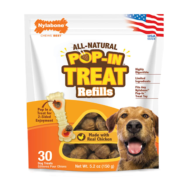 Nylabone Pop-In Treat Chicken Falvour Refills with Treat Toy Combo for Dogs, Small - Carousel image #1