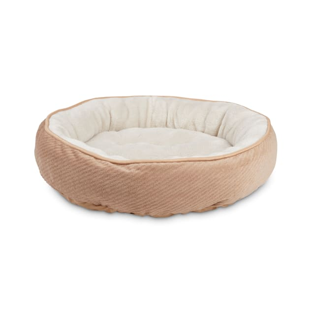 """EveryYay Snooze Fest Tan Textured Round Cat Bed, 20"""" L X 20"""" W X 20"""" H - Carousel image #1"""
