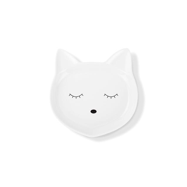 PetShop by Fringe Studio Cat Face Ceramic Cat Saucer - Carousel image #1