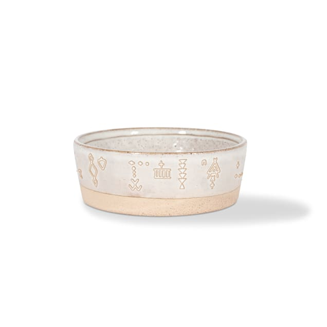 PetShop by Fringe Studio Tribal Marks White Artisan Stoneware Pet Bowl, 1 Cup - Carousel image #1