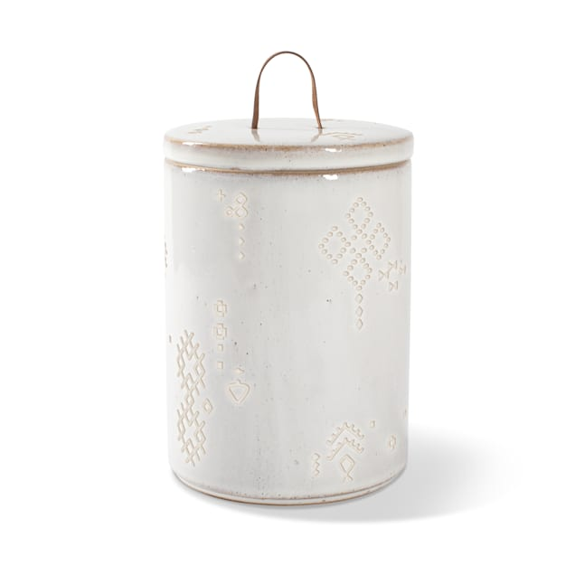 PetShop by Fringe Studio Tribal Marks White Stoneware Artisan Treat Pet Jar - Carousel image #1