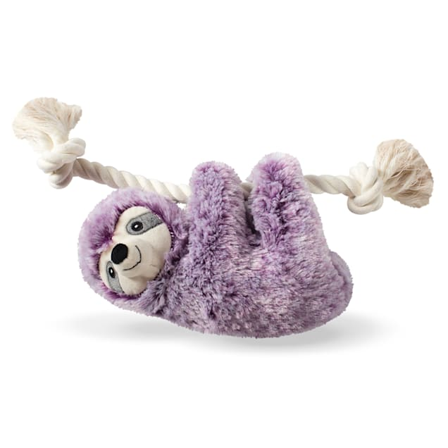 PetShop by Fringe Studio Violet Sloth On A Rope Plush Dog Toy - Carousel image #1