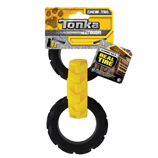 Tonka Rubber Yellow/Black Flex Tread 3-Ring Tug Dog Toy, Small - Carousel image #1