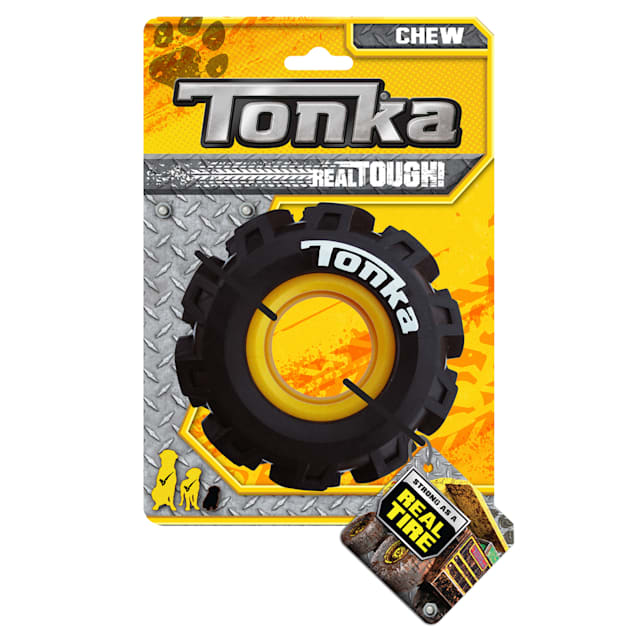 Tonka TRP Rubber Yellow/Black Seismic Tread with Insert Dog Toy, X-Small - Carousel image #1