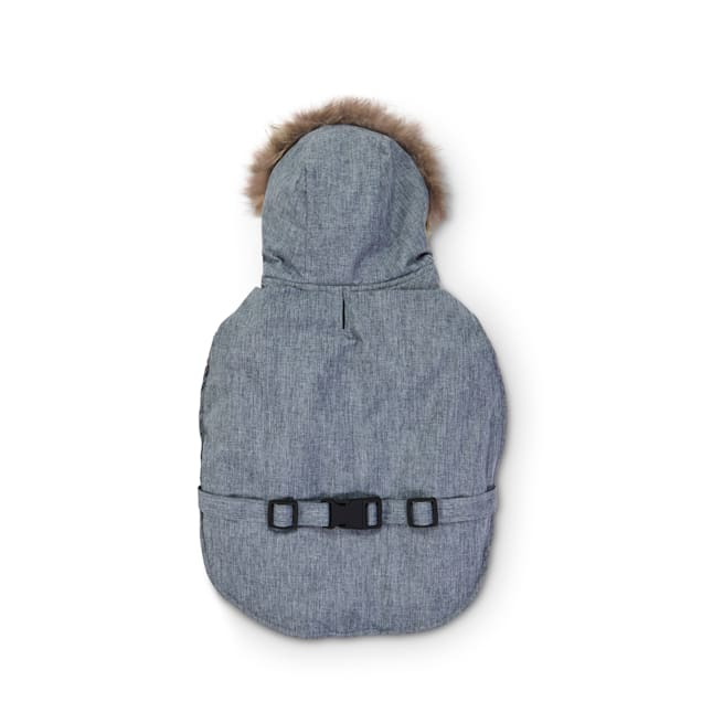Good2Go Grey Hooded Dog Jacket with Faux-Fur Trim, Small - Carousel image #1