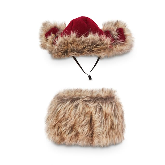 Good2Go Faux-Fur-Trimmed Maroon Flannel Dog Trapper Hat & Scarf Set, Small/Medium - Carousel image #1
