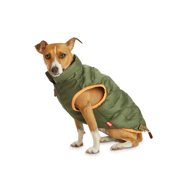 Reddy Olive Zip-and-Stow Dog Puffer Jacket, Small - Carousel image #1