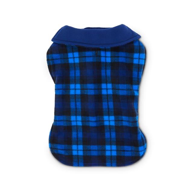 Good2Go Blue Plaid Classic Cozy Dog Coat, X-Small/Small - Carousel image #1