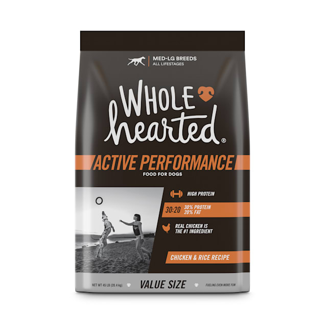 Wholehearted Active Performance High-Protein Chicken & Rice Recipe Dry Dog Food, 45 lbs. - Carousel image #1