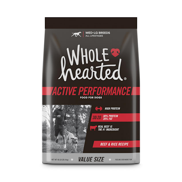 Wholehearted Active Performance High-Protein Beef & Rice Recipe Dry Dog Food, 45 lbs. - Carousel image #1