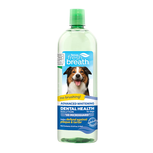 TropiClean Fresh Breath Advanced Whitening Dental Health Solution for Dogs, 33.8 fl. oz. - Carousel image #1