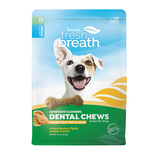 TropiClean Fresh Breath Peanut Butter Flavor Dental Chews for Small Dogs, Count of 20 - Carousel image #1