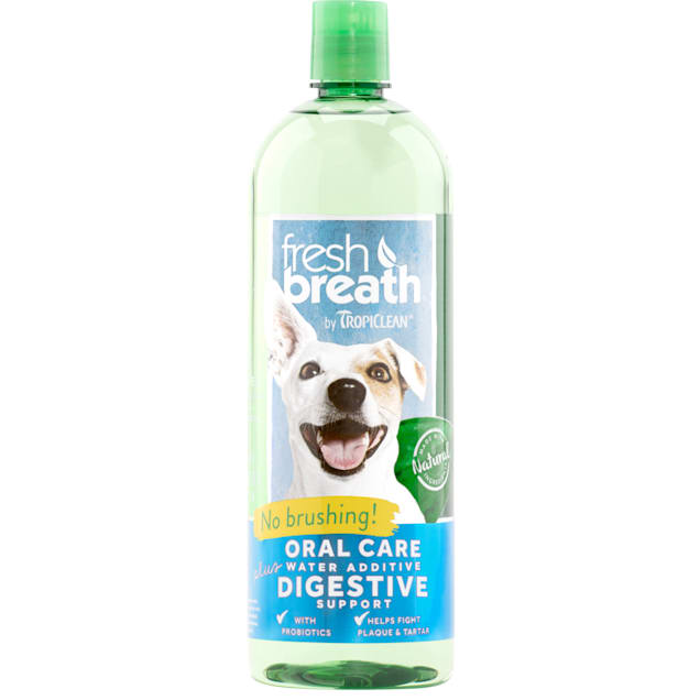 Fresh Breath by TropiClean Oral Care Water Additive Plus Digestive Support for Pets, 33.8 fl. oz. - Carousel image #1