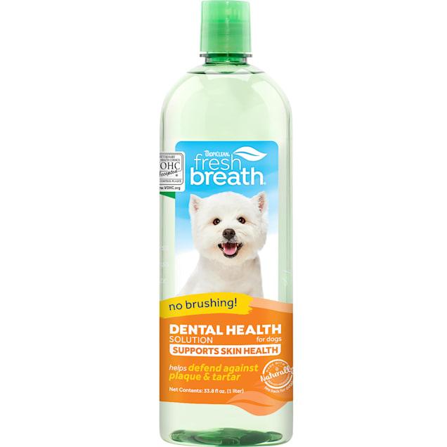 TropiClean Fresh Breath Dental Health Solution Supports Skin Health for Dogs, 33.8 fl. oz. - Carousel image #1