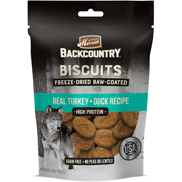 Merrick Backcountry Freeze-Dried Raw Coated Biscuit Turkey + Duck Recipe Dog Treats, 10 oz. - Carousel image #1