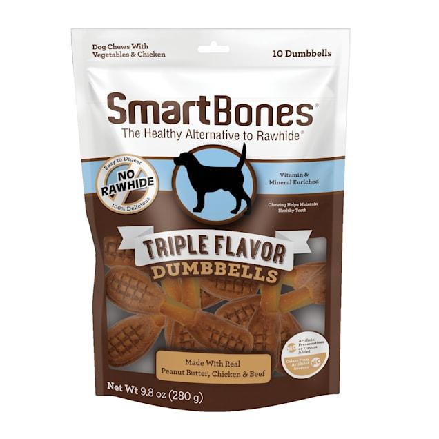 SmartBones Triple Flavor Dumbbells with Peanut Butter Dog Treats, Count of 10 - Carousel image #1