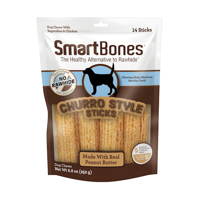 SmartBones Churro-Style Sticks With Peanut Butter Dog Treats, Count of 14 - Carousel image #1
