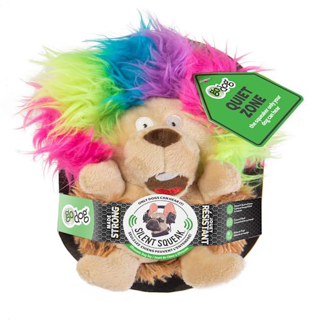 goDog Silent Squeak Crazy Hairs Hedgehog Dog Chew Toys, Small - Carousel image #1
