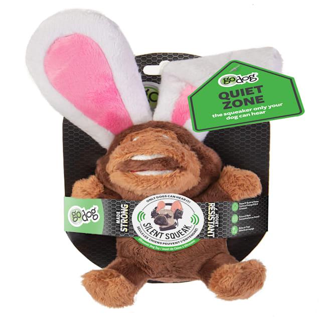 goDog Silent Squeak Flips Monkey/Rabbit Dog Chew Toys, Small - Carousel image #1