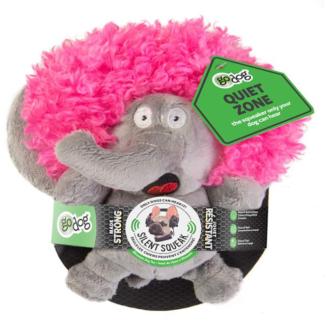 goDog Silent Squeak Crazy Hairs Elephant Dog Chew Toys, Small - Carousel image #1