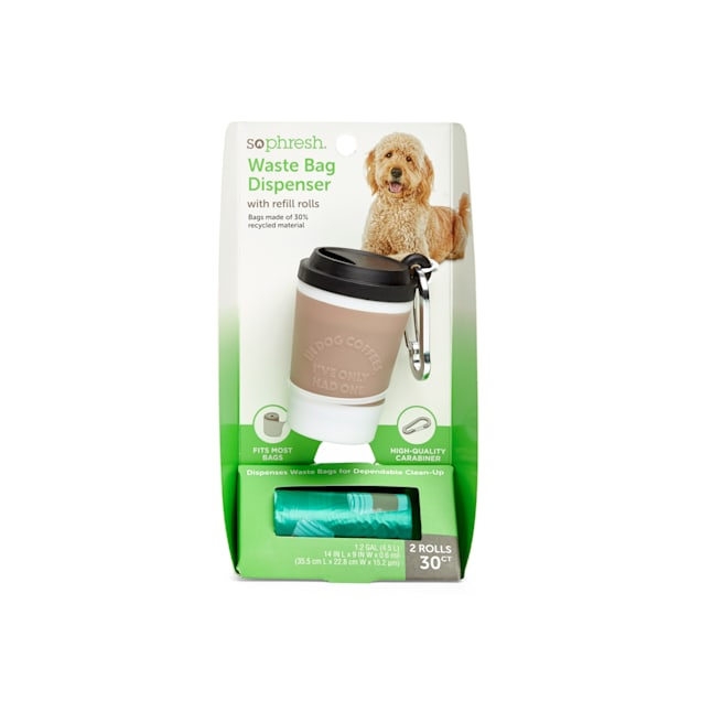 So Phresh Coffee Cup Dog Waste Bag Dispenser with Refill Rolls - Carousel image #1
