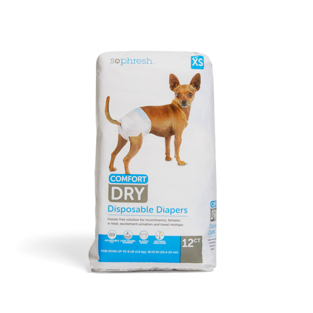 So Phresh X-Small Dry Comfort Disposable Pet Diapers, Count of 12 - Carousel image #1