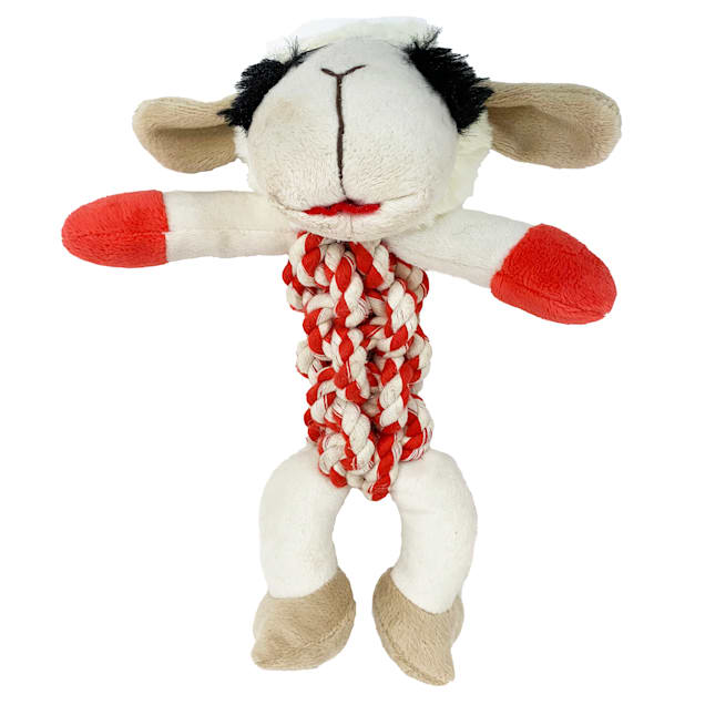 Multipet International Lamb Chop with Red & White Rope Body Dog Toy - Carousel image #1