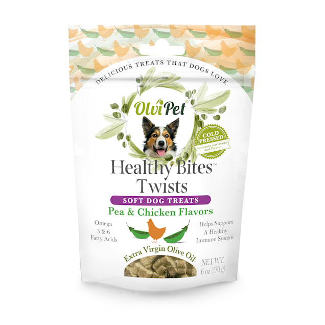 Olvipet Healthy Bites Twists Pea & Chicken Soft Treats for Dogs, 6 oz. - Carousel image #1