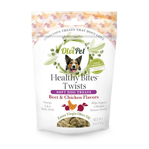 Olvipet Healthy Bites Twists Beet & Chicken Soft Treats for Dogs, 6 oz. - Carousel image #1