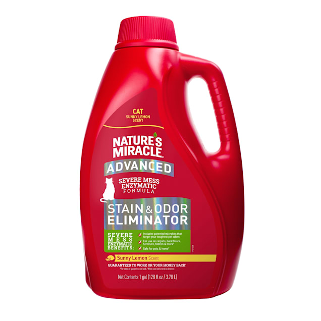 Nature's Miracle Advanced Sunny Lemon Stain & Odor Eliminator for Cats, 1 Gallon - Carousel image #1