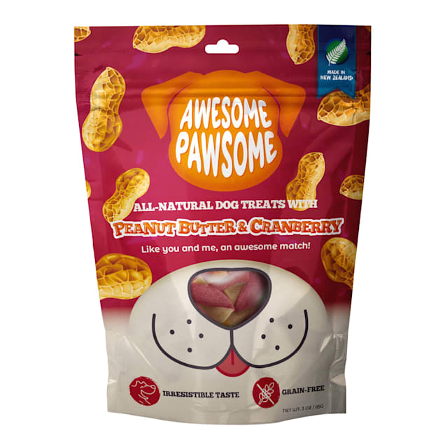 AWESOME PAWSOME All-Natural Peanut Butter & Cranberry Semi-Soft Dog Treats, 3 oz. - Carousel image #1