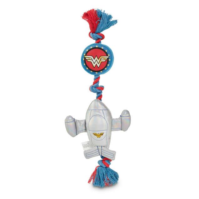 DC Comics Wonder Woman Invisible Jet Plush & Rope Dog Toy, Large - Carousel image #1