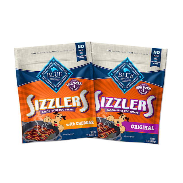 Blue Buffalo Sizzlers Natural Pork & Cheddar Bacon-Style Soft-Moist Dog Treats Variety Pack, 15 oz., Count of 2 - Carousel image #1